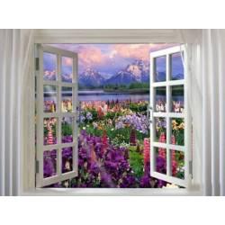 Алмазная вышивка - Окно в сад