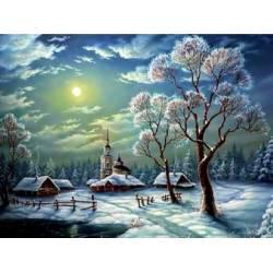 Зимняя ночь в деревне