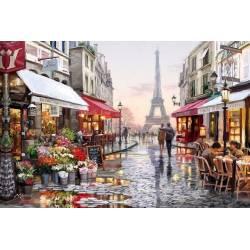 Французская улочка в цвету - на подрамнике