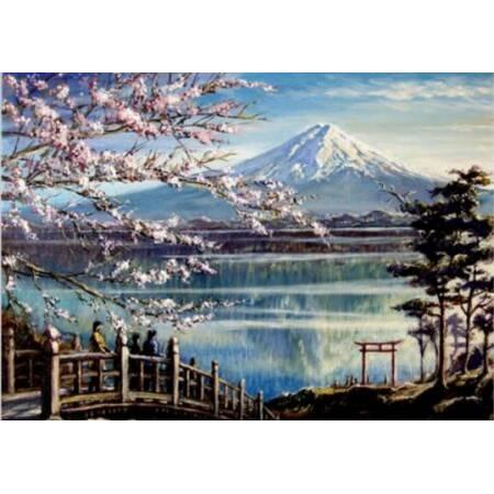 Алмазная вышивка - Сакура на берегу озера