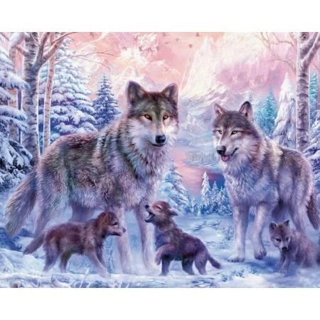Семья волков с волчатами