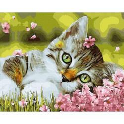 Котенок в цветочках