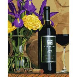 Цветы и красное вино