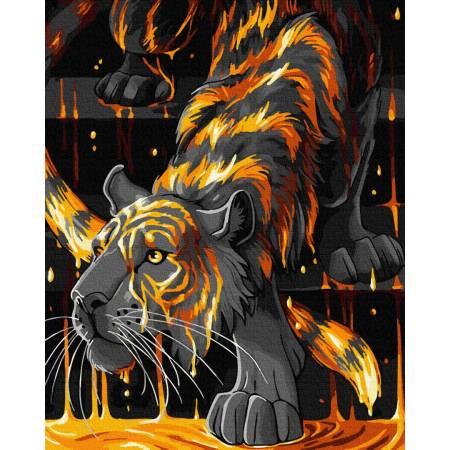 Картина по номерам Тигр в огне GX35049, Rainbow Art