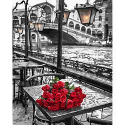Розы под дождем премиум, цветной холст