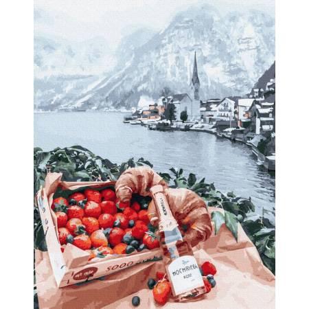 Картина по номерам Пикник на фоне Хальштатт премиум, цветной холст PGX26282, Rainbow Art