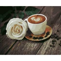 Кофе и белая роза