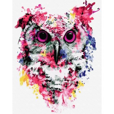 Картина по номерам Сова в красках премиум, цветной холст  GX26136, Rainbow Art