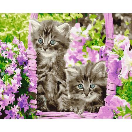 Картина по номерам Котята в корзинке GX29109, Rainbow Art