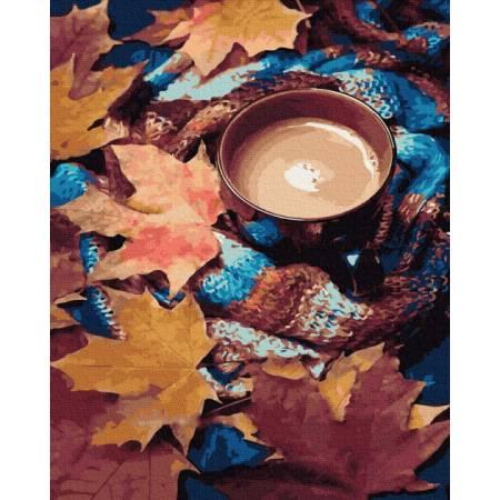 Осеннее кофе премиум, цветной холст