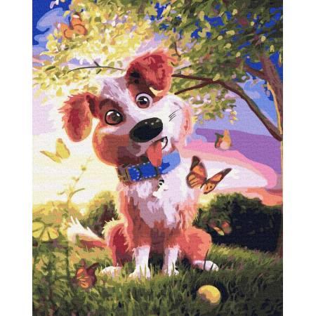 Картина по номерам Собака и бабочки GX32583, Rainbow Art