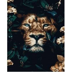 Лев в листьях