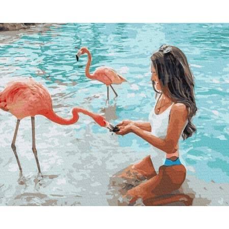 Картина по номерам С фламинго  GX36346, Rainbow Art