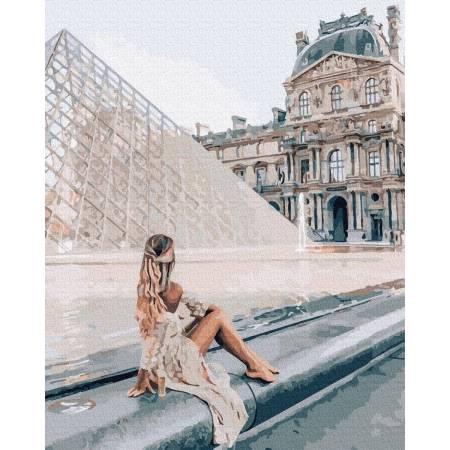 Картина по номерам Девушка у Лувра  GX37204, Rainbow Art
