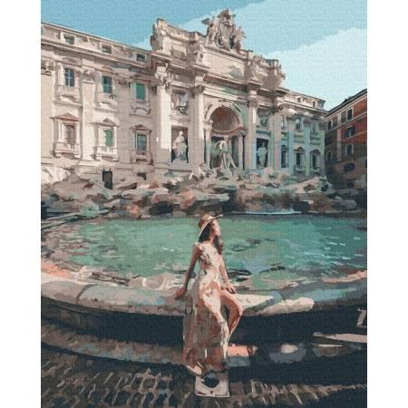 Картина по номерам Девушка у фонтана Треви GX37206, Rainbow Art