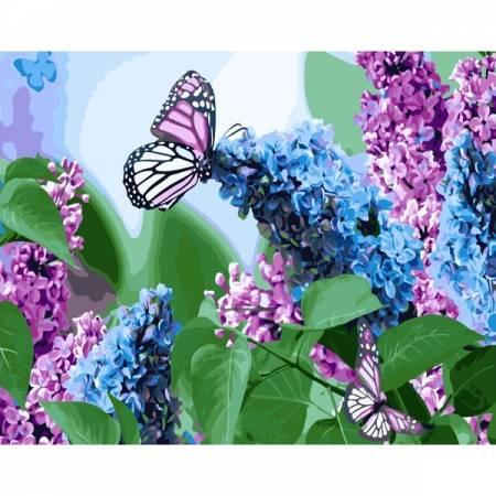 Картина по номерам Бабочки и сирень GX4931, Rainbow Art