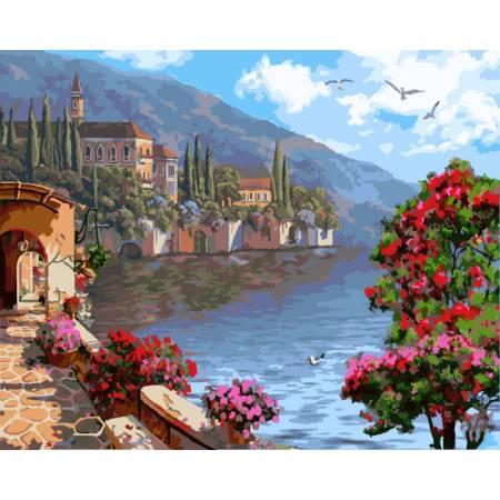 Картина по номерам пейзаж цветущей набережной  GX9502, Rainbow Art