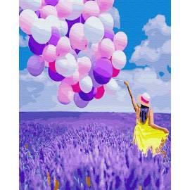 Мечтательница в лавандовом поле премиум, цветной холст