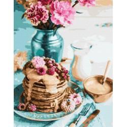 Панкейки на завтрак премиум, цветной холст