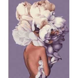 Женственные пионы премиум, цветной холст