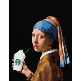 Девушка с двойным латте премиум, цветной холст