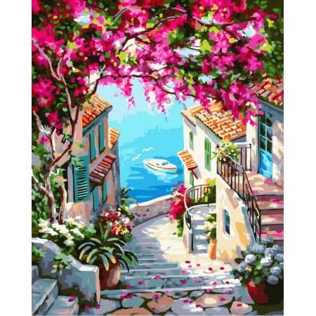 Картина по номерам Пейзаж лестница к морю GX37785, Rainbow Art