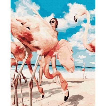 Фламинго с девушкой