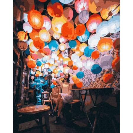Картина по номерам Шарики в кафе GX39260, Rainbow Art