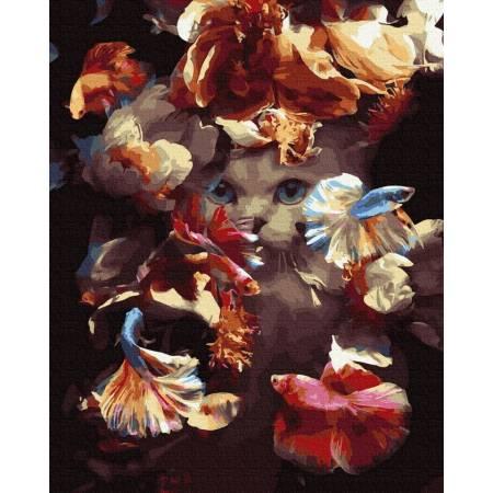 Картина по номерам Кот в рыбках  GX39390, Rainbow Art