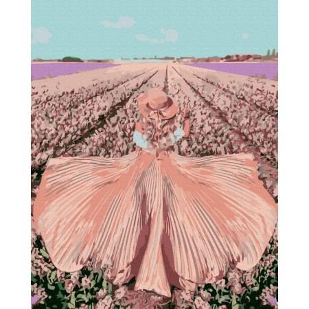 Картина по номерам Девушка в поле тюльпанов GX39438, Rainbow Art