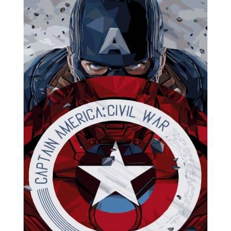 Картина по номерам Капитан Америка со щитом   BRM3941, Rainbow Art