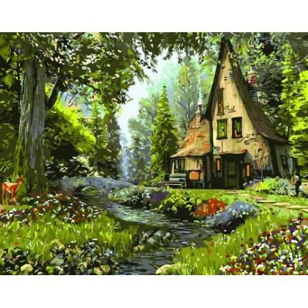 Картина по номерам Дом в лесу  BRM3222, Rainbow Art
