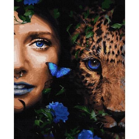Картина по номерам Девушка и леопард  GX32564, Rainbow Art