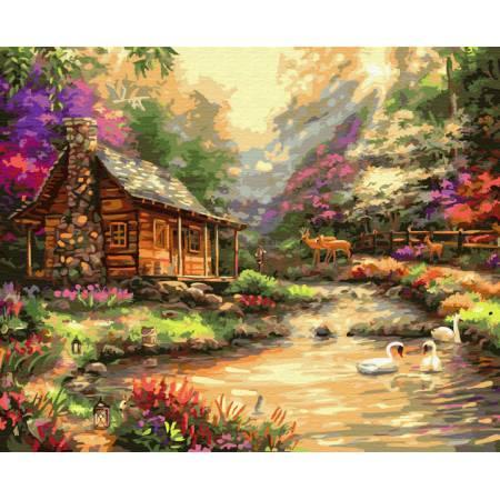 Картина по номерам Домик в солнечных лучах  BRM33208, Rainbow Art