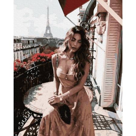 Картина по номерам Девушка в Париже  GX39134, Rainbow Art