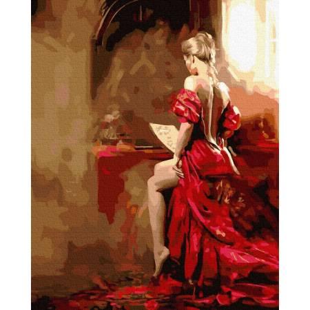 Картина по номерам дама в красном  GX39277, Rainbow Art