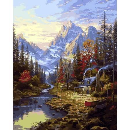 Картина по номерам Изба в лесу  Q2249, Mariposa