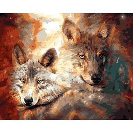 Картина по номерам Волк с волчицей  VP1362, Babylon