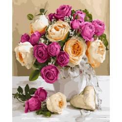 Букет белых и розовых роз