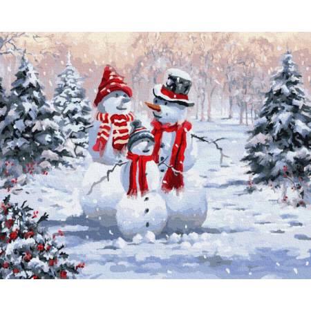 Картина по номерам Семья Снеговиков  BRM8339, Rainbow Art