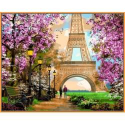 Прогулка по Парижу - в раме, цветной холст