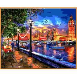 Жизнь в Лондоне - в раме, цветной холст