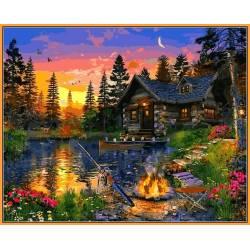 Вечерняя рыбалка - в раме, цветной холст