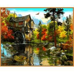 Водяная мельница - в раме, цветной холст