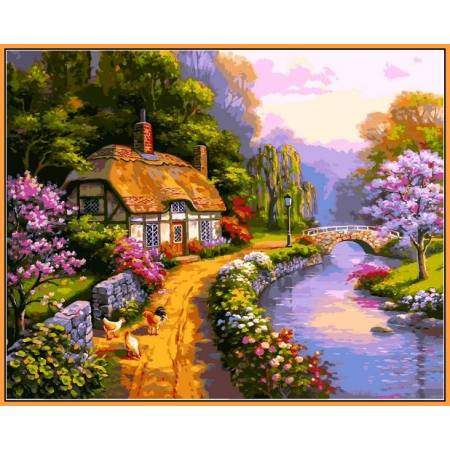 Сельский домик - в раме, цветной холст