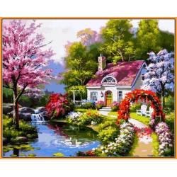 Весенний коттедж - в раме, цветной холст
