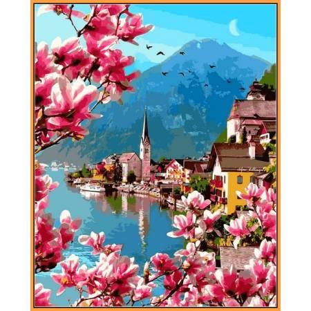 Цветение в Гельштате - в раме, цветной холст