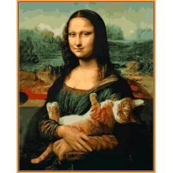 Мона Лиза и кот - в раме, цветной холст