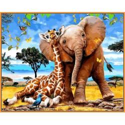 Слоненок и жираф - в раме, цветной холст