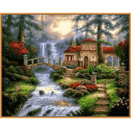 Мост у водопада - в раме, цветной холст